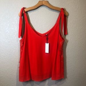 NWT- Blouse tank with lace side detail, tie straps